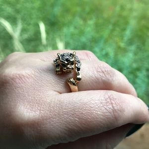 Vintage 18k gold plated leopard wrap ring Sz 8